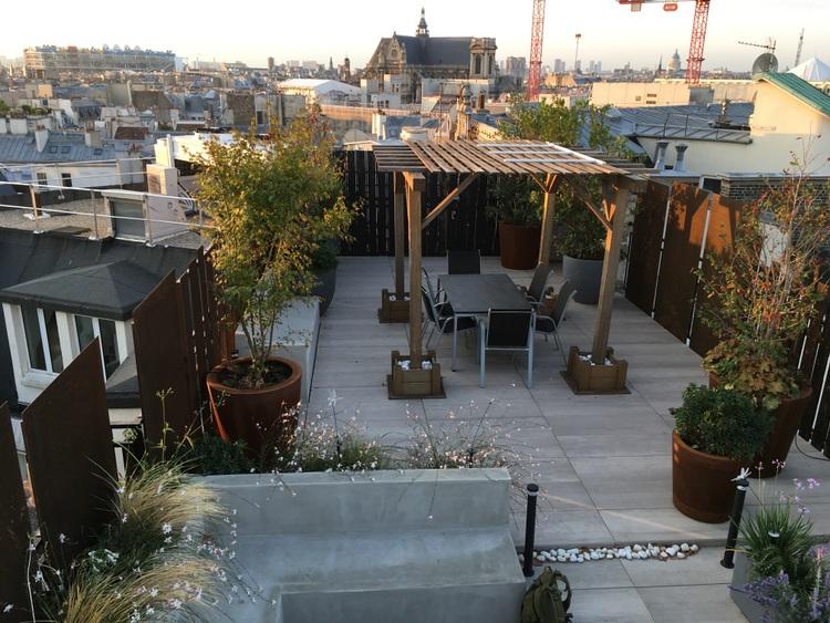 Conception et réalisation d'un toit-terrasse de 100m² Paris 2éme